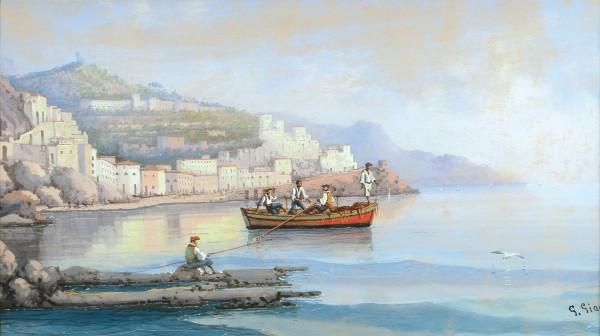 Джанни Джулио (Giulio Gianni) (1847—1896) «Рыбаки». Последняя четверть XIX века. Бумага, гуашь, 24 х 41,7 см (в свету).