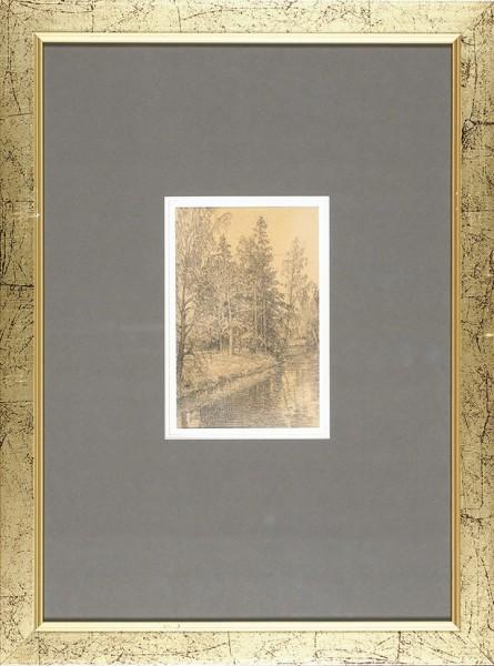 Ульянов Николай Павлович (1885—1949) «Река в лесу». 1900. Бумага, графитный карандаш, 16,5 х 10,3 см.