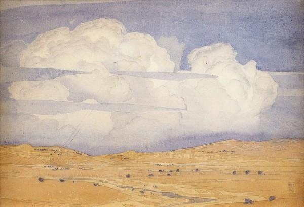 Волошин Максимилиан Александрович (1878—1932) «Коктебель. Перед грозой». 1917. Бумага, графитный карандаш, акварель, 17,5 х 24,5 см.