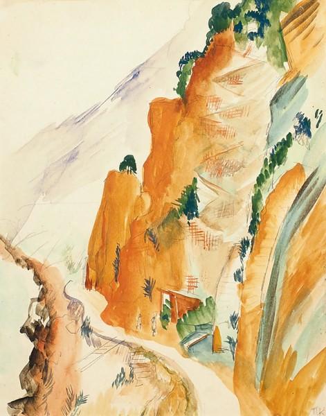 Кузнецов Павел Варфоломеевич (1878—1968) «Горная дорога на Кавказе». 1926. Бумага, графитный карандаш, акварель, 24 х 19,3 см.