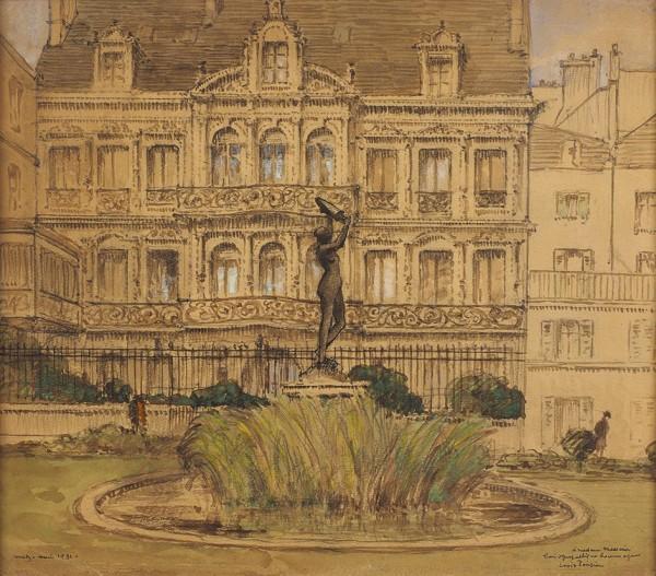 Понсен Луи (Louis Ponsin) «Фонтан в Меце». 1931. Бумага, смешанная техника, 25,7 х 29,5 см (в свету).