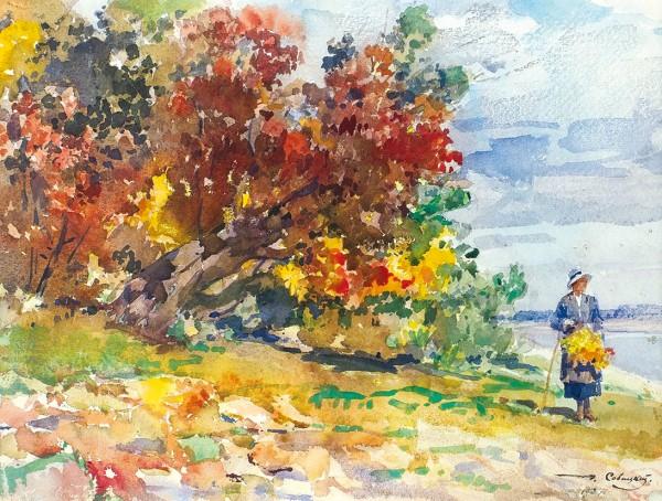 Савицкий Георгий Константинович (1887—1949) «На берегу Камы». 1934. Бумага, акварель, 27,2 х 38 см.