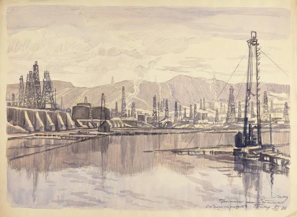 Маторин Михаил Владимирович (1901—1976) «Баку». 1936. Бумага, акварель, графитный карандаш, 33,8 х 45,4 см.