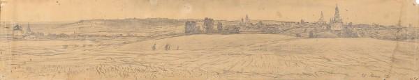 Герасимов Сергей Васильевич (1885—1964) «Пейзаж – панорама Можайска». 1952. Бумага, графитный карандаш, 11,7 х 59,9 см.