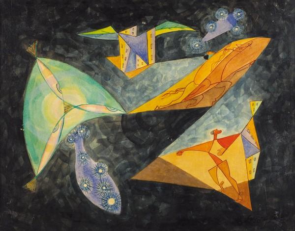 Сюрваж Леопольд (1879–1968) «Космос». 1962. Бумага на фанере, темпера, лак, 45 х 57 см.