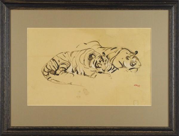 Мыслина Мария Владимировна (1901—1974) «Алтайские тигры». 1966. Бумага, акварель, белила, 24,9 х 40,3 см.