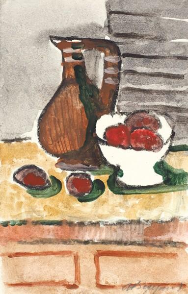 Ведерников Александр Семенович (1898 —1975) «Натюрморт с коричневым кувшином». 1960-е—1970-е. Бумага, смешанная техника, 16 х 10,1 см.
