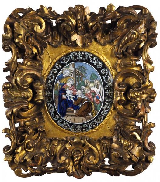 Икона «Поклонение волхвов». Франция, Лимож. Вторая половина XVII века. Эмаль на медной основе, дерево, резьба, золочение. Размер рамы 40,5 х 35,5 см, размер эмали 19,5 х 16,5 см.