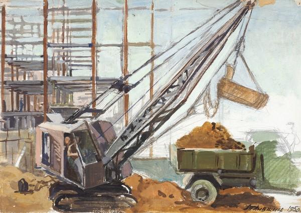 Лившиц Татьяна Исааковна (1925—2010) «Строительство МИДа». 1950. Картон, графитный карандаш,темпера, 24 х 34 см.