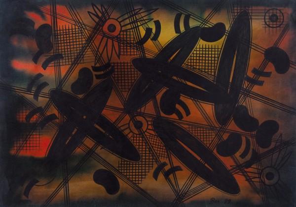 Вечтомов Николай Евгеньевич (1923—2007) «Движение 3». 1989. Бумага, тушь, акварель, 60,3 х 85,3 см.