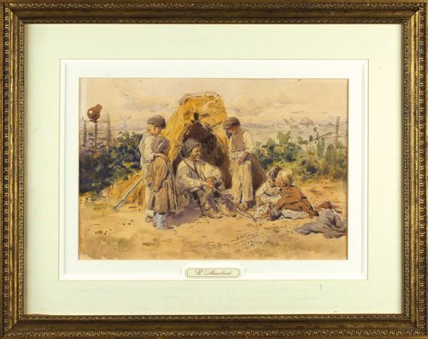 Маковский Владимир Егорович (1846–1920) «Баштан». 1882. Бумага, графитный карандаш, акварель, 24,6 х 36,2 см.