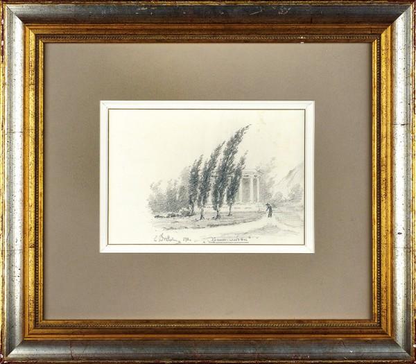 Волков Ефим Ефимович (1844—1920) «Храм Любви». 1911. Бумага, графитный карандаш, 17 х 25,4 см.