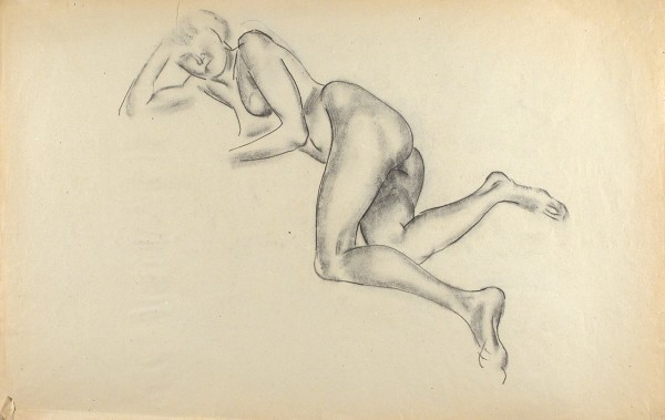 Тырса Николай Александрович (1887—1942) «Лежащая обнаженная». 1910-е. Бумага, уголь, 45,5 х 71,5 см.