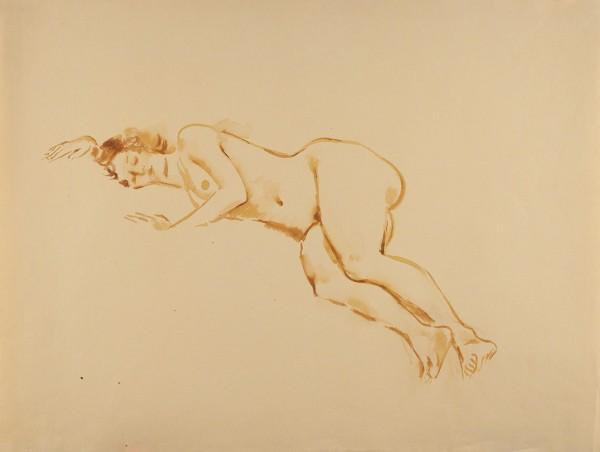 Тырса Николай Александрович (1887—1942) «Спящая обнаженная». 1920-е — 1930-е. Бумага, сепия, кисть, 62,5 х 47,7 см.
