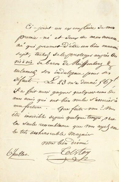 Собственноручное письмо Алексея Константиновича Толстого, адресованное в Париж для мсье д'Асфельда. [На фр. яз.] Дат. 6 июля, кон. 1830-х гг.