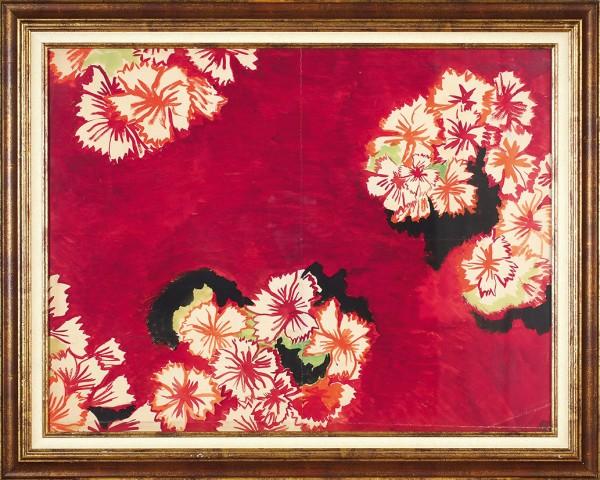 Делоне Соня (1885–1979) «Цветочный мотив на красном фоне». Эскиз ткани. 1920-е. Бумага, гуашь, 64 х 46,5 см.