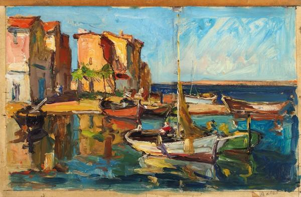 Лапшин Георгий Александрович (1885–1950) «Рыбацкие лодки». Середина 1930-х-1940-е. Бумага на картоне, масло, 26,4 х 40,5 см.