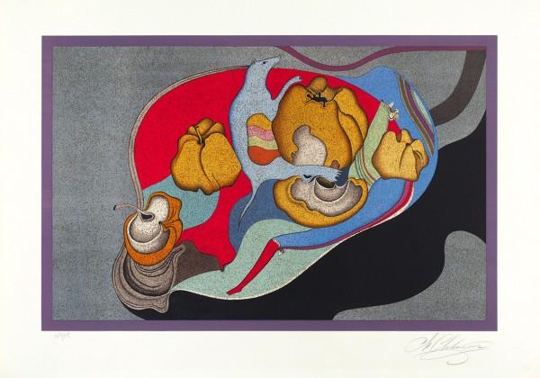 Шемякин Михаил Михайлович (род. 1943) «Натюрморт». Конец 1970-х — начало 1980-х. Бумага, цветная автолитография, 53,5 х 76 см.