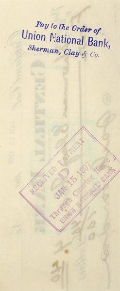 [Что делал Джек Лондон за день до своего 31-летия?..] Джек Лондон. Уникальный автограф на банковском чеке Центрального банка Окленда, штата Калифорния. 11 января 1907 года.