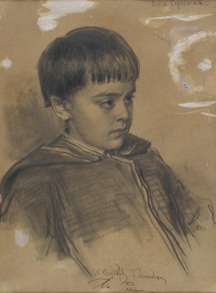 Репин Илья Ефимович (1844–1930) «ÐŸÐ¾Ñ€Ñ'рет Васи Тарновского». 1880. Бумага, графитный карандаш, 32,6×24,2 см.