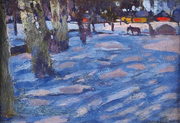 Жуковский Станислав Юлианович (1875–1944) «Ð¡Ð½ÐµÐ¶Ð½Ð°Ñ поляна в парке». 1907. Фанера, масло, 20 х 13,5 см.