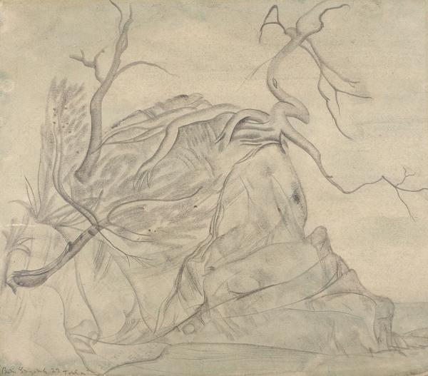 Григорьев Борис Дмитриевич (1886–1939) «Обрывистый берег». 1922. Бумага, графитный карандаш, 26 х 29,8 см.
