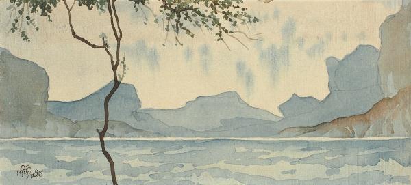 Волошин Максимилиан Александрович (1878–1932) «Ð¡Ð¸Ð½Ð¸Ðµ горы». 1928. Бумага, графитный карандаш, акварель, 9 х 19,7 см.