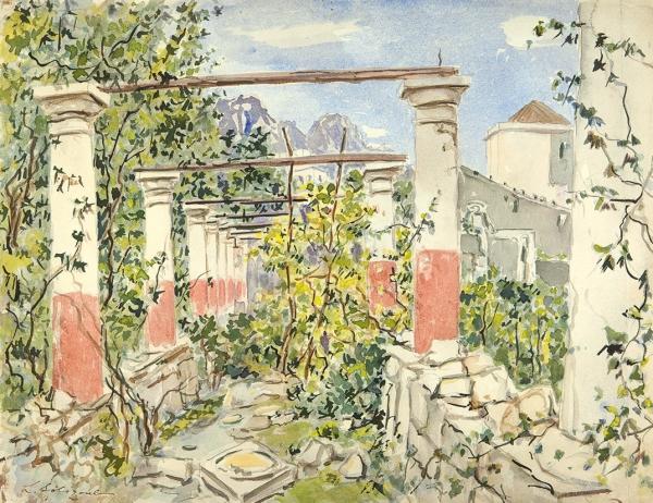 Сологуб Леонид Романович (1884—1956) «Ð—аросшая галерея». 1920-е. Бумага, графитный карандаш, акварель, 33 х 42,7 см.