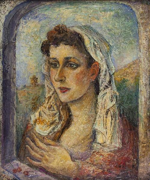 Бурлюк Давид Давидович (1882–1967) «Ð–енщина в окне». 1950-е. Холст, масло, 43 х 36 см.