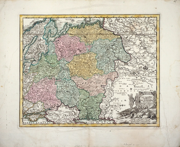 Карта Московии / карт. Кристоф Вигель. [Imperium Moscovia cum regionibus amplifsimis huc pertineutibus (...)] Нюрнберг, сер. XVIII в.