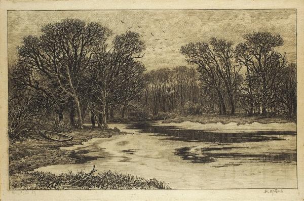 Шишкин, И. Офорт на шёлке «Апрель» из серии «60 офортов». 1885 г.