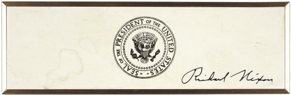 [Подарок от президента] Ручка в футляре с автографом 37-го президента США Ричарда Никсона. 1972.