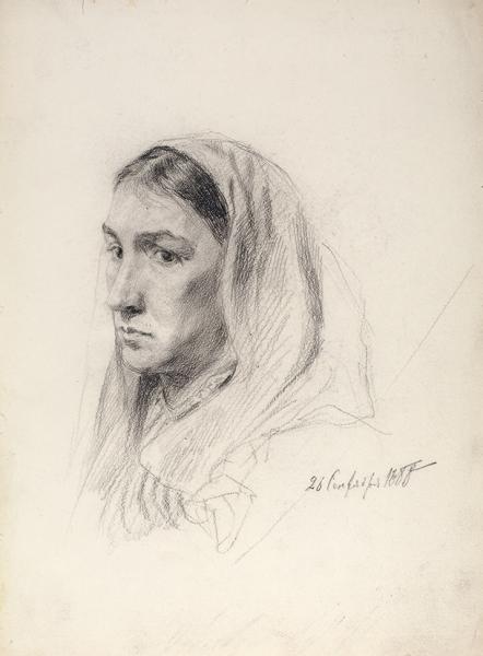 Савинский Василий Евменьевич (1859–1937) «Портрет жены художника». 1888. Бумага, итальянский карандаш, 32,5 х 23,9 см.