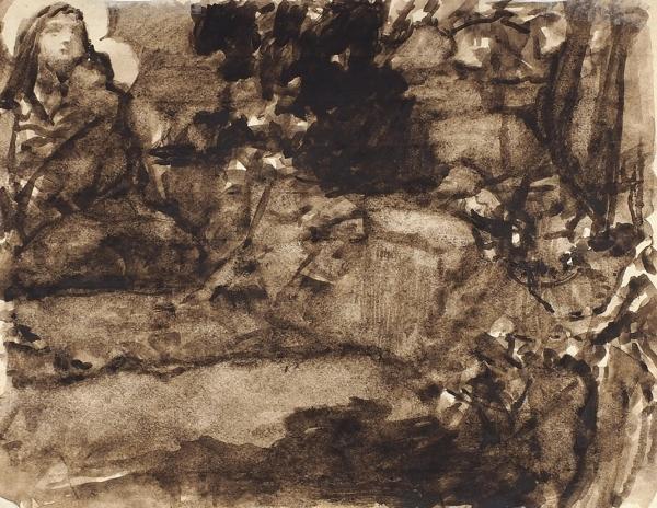 Котарбинский Василий (Вильгельм) Александрович (1849 — 1921) «Явление Богоматери». На обороте вариант той же композиции. 1890-е — 1900-е. Бумага, сепия, кисть, 10,7x13,5 см.