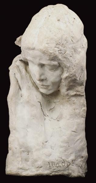 Скульптура «Задумавшаяся девушка». Автор И.Д. Шадр. 1913. Глина, 42 х 23 см.