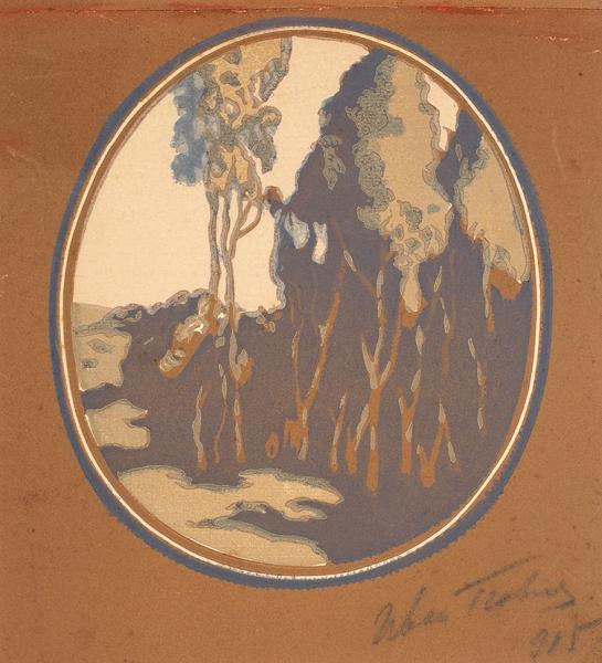 Павлов Иван Николаевич (1872—1951) «Пейзаж в овале». 1915. Бумага, монотипия, 23,3 х 19,3 см.
