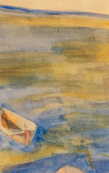 Матюшин Михаил Васильевич (1861—1934) «Лодка. Куоккала». 1900-1913. Бумага, акварель, графитный карандаш, 18,7 х 12 см.
