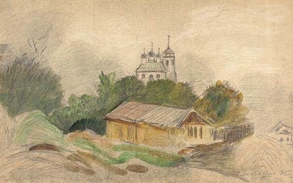 Павлов Иван Николаевич (1872—1951) «Бобрино». 1922. Бумага, графитный и цветные карандаши, акварель, 24,5 х 39 см.