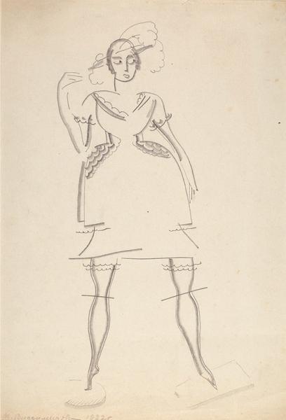 Владимирова Мария Николаевна (1905—2000) «Девушка в шляпке» из серии «Женские фигуры». 1922. Бумага, графитный карандаш, 29,7 х 24,1 см.