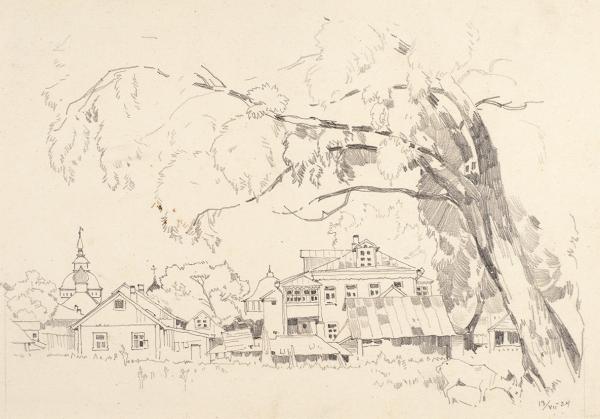 Соколов Василий Иванович (1891—1956) «Загорск». 1924. Бумага, графитный карандаш, 21,8 х 28 см.