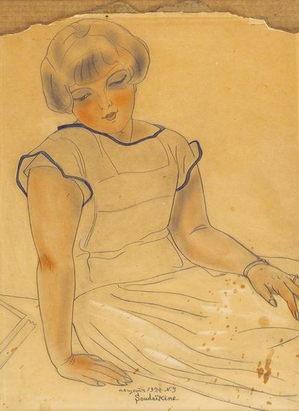 Судейкин Сергей Юрьевич (1882–1946) «Портрет девочки». 1924. Бумага, графитный карандаш, акварель, сангина, 34×45 см.