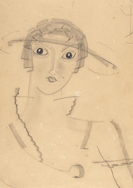 Владимирова Мария Николаевна (1905—2000) «Взгляд». 1920-е. Бумага, графитный карандаш, 27,2 х 20,6 см.