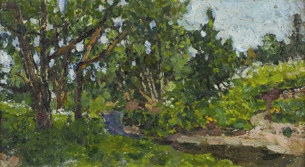Петровичев Петр Иванович (1874—1947) «Летний день». 1920-е. Холст на картоне, масло, 18 х 32,5 см.
