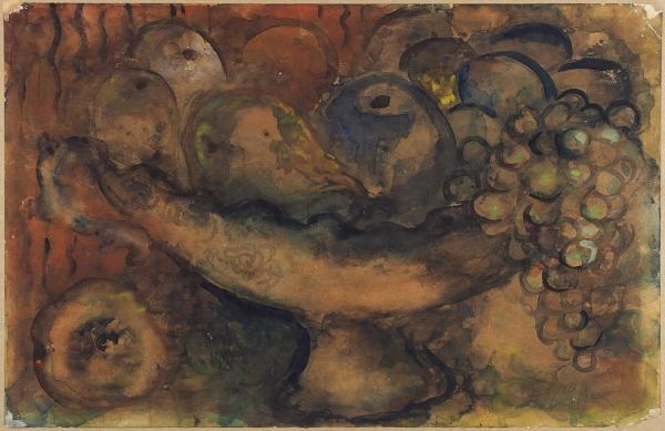 Рыбак Иссахар Бер (Захар) (1897—1935) «Натюрморт». 1920-е — 1930-е. Бумага на картоне, акварель, 23 х 36 см.