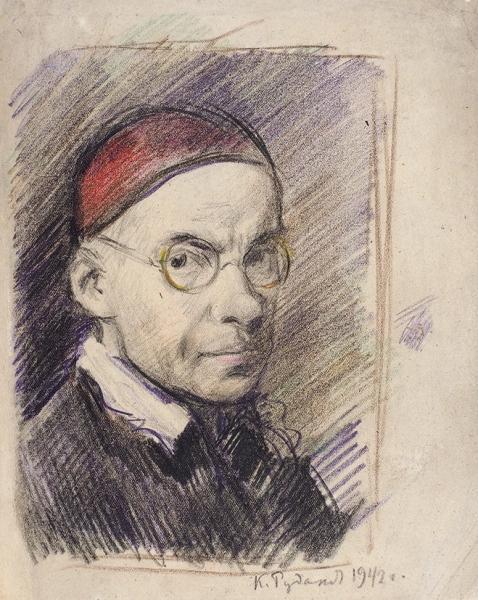 Рудаков Константин Иванович (1891–1949) «Автопортрет». 1942. Бумага, графитный и цветные карндаши, 22,3 х 17,8 см.