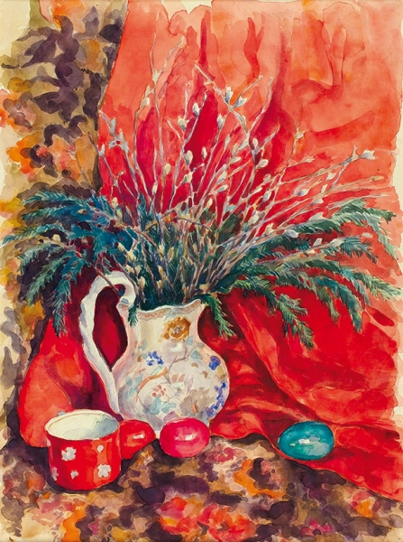 Грибков Люциан Дмитриевич (1922–1976) «Натюрморт с пасхальными яйцами». 1950. Бумага, акварель, 57 х 41,5 см.