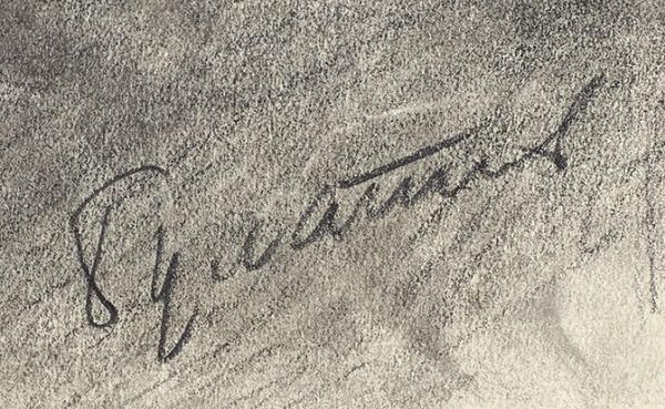 Булатов Эрик Владимирович (род. 1933) «Мужской портрет». 1951-1952. Бумага, графитный карандаш, 29 х 41 см.