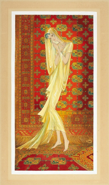 Мак Поль (Иванов Павел Петрович) (1891–1967) «Скрытая женщина». 1954. Бумага, графитный карандаш, акварель, белила, 30x16 см.