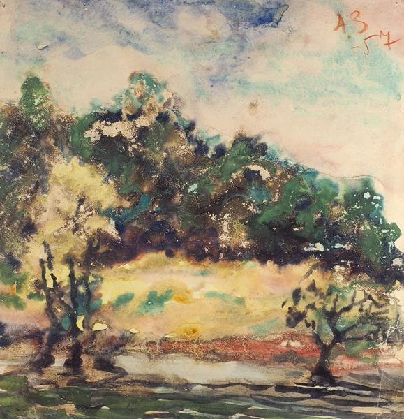 Зверев Анатолий Тимофеевич (1931—1986) «Пейзаж». 1957. Бумага, акварель, 31 х 29 см.