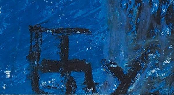 Бубнова Варвара Дмитриевна (1886—1983) «В черном платке». 1967. Бумага, смешанная техника, 43 х 31 см.